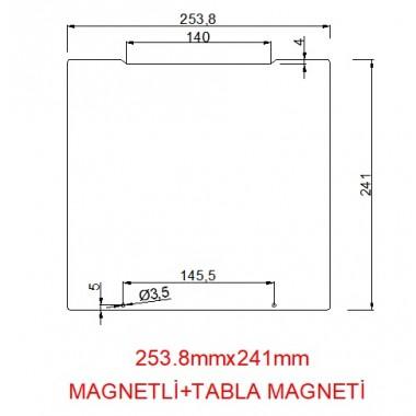 mk52-253.8mmx241mm(Magnetli+tabla magneti) Paslanmaz Yay Çeliği